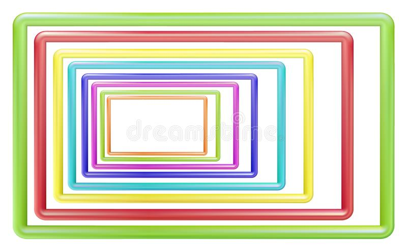 Toy plastic frame, volumetric editable set. Multi-colored edging for photos and presentations, design. Vector illustration royalty free illustration