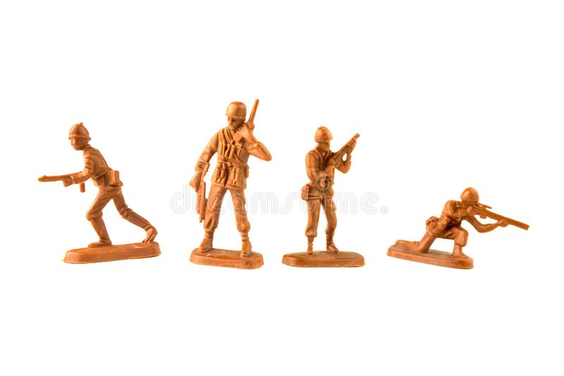 toy plastic soldiers isolated on white background stock photo