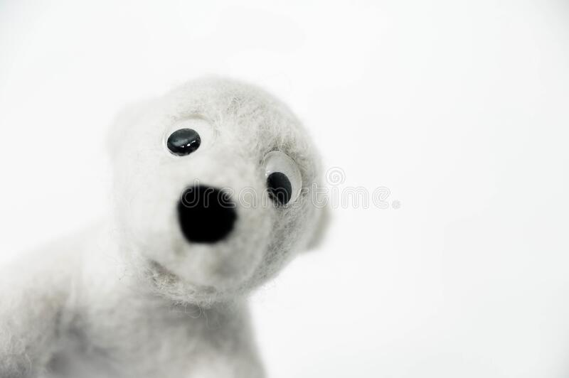 Toy polar bear made of felted wool looking out of the corner of the frame on white background. A toy polar bear made of felted wool looking out of the corner of stock images