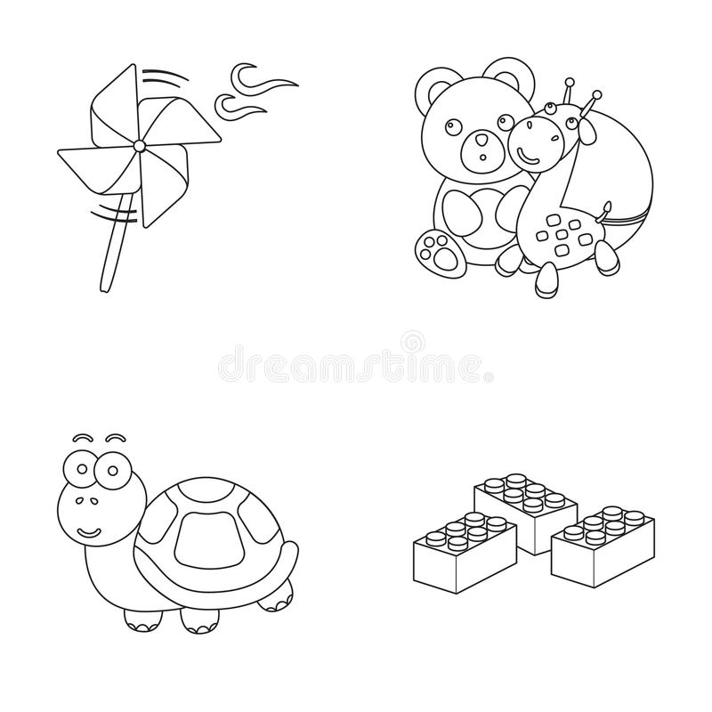 A toy propeller, a teddy bear with a giraffe and a colorful ball, a toy turtle, a lego, a designer for children. Toys royalty free illustration