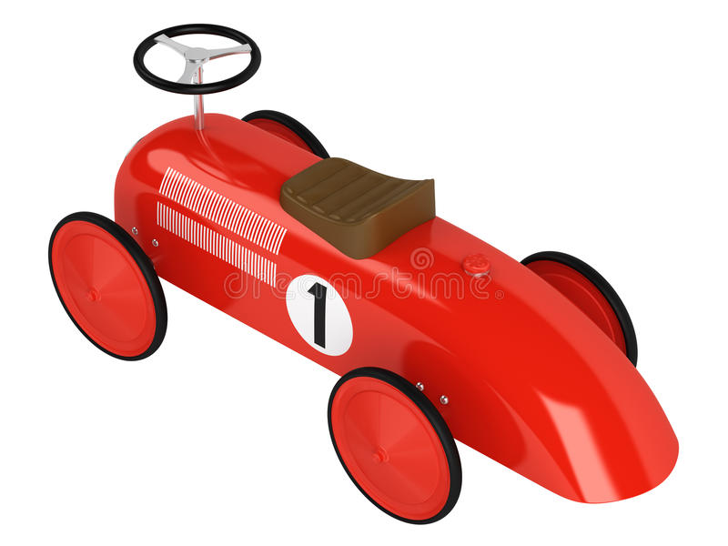 Toy racing car. Stylised simple red plastic toy racing car with a number one on its side isolated on white vector illustration