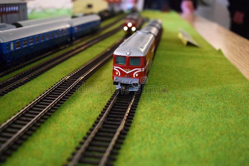 Toy railway station with trains stock photos