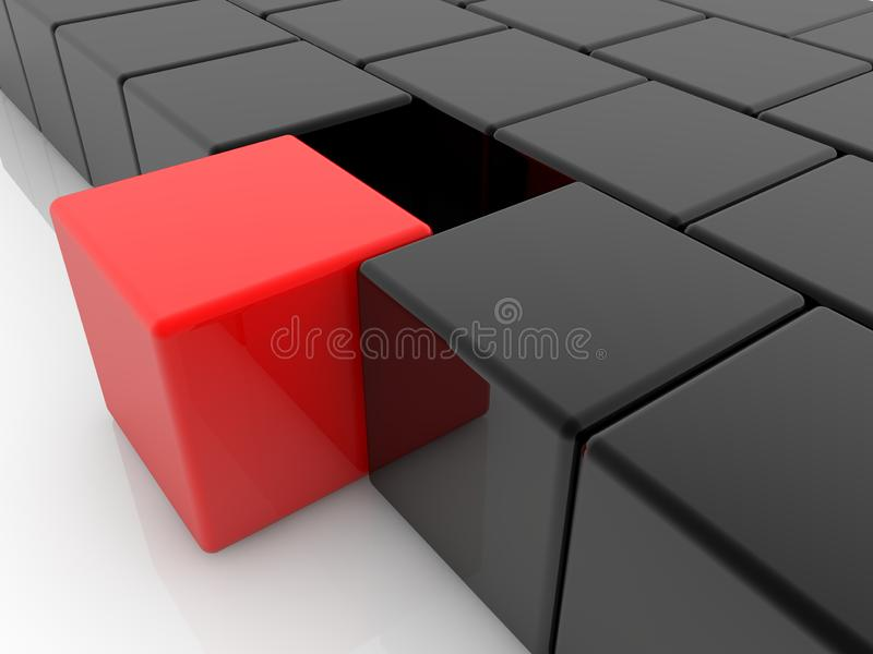 Toy red cube between black color toy cubes. In background royalty free illustration