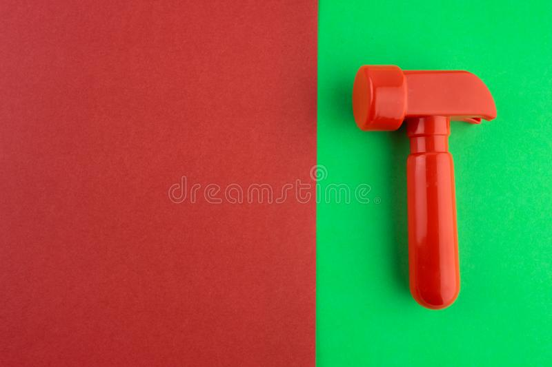 Toy red hammer. royalty free stock images