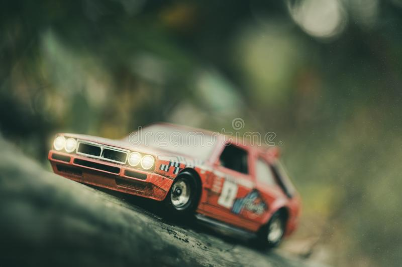 Toy retro rally car model stock image