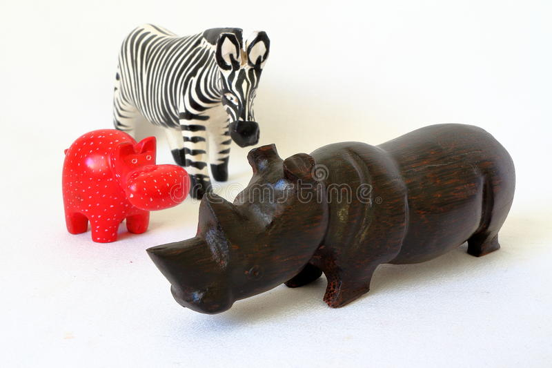 Toy rhino, zebra and hyppo stock images