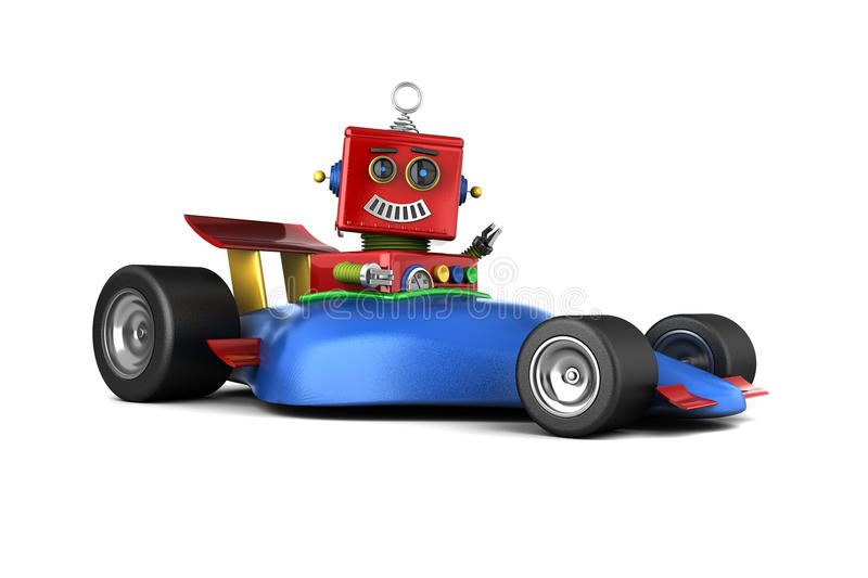 Toy robot in race car. Happy vintage toy robot in a race car vector illustration