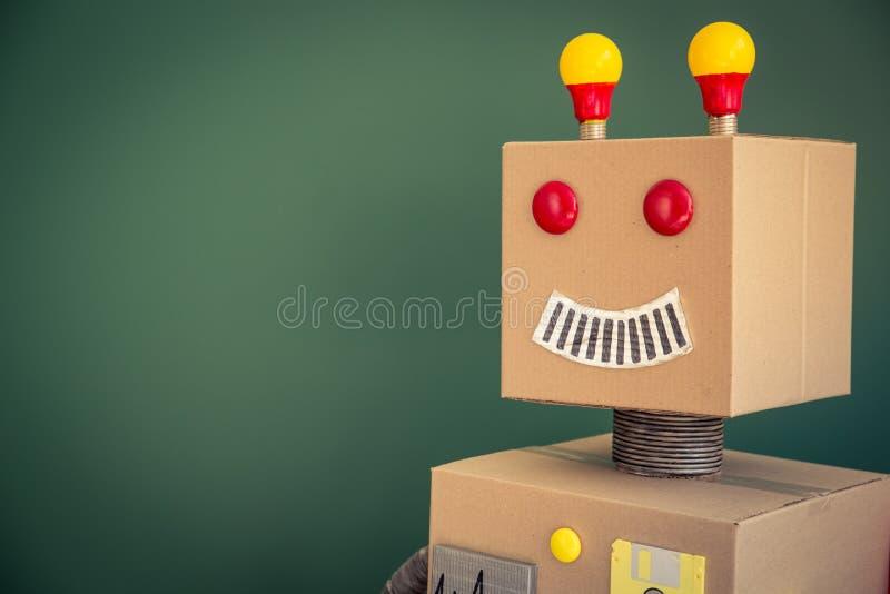 Toy robot in school stock photo