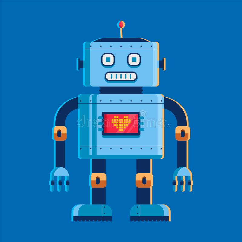 Toy robot stands and looks at us. on the chest screen with a heart. character vector illustration on blue background. stock illustration