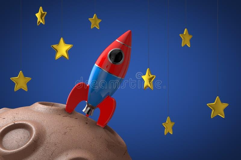 Toy Rocket sobre el planeta abstracto en espacio con las estrellas de oro representación 3d libre illustration