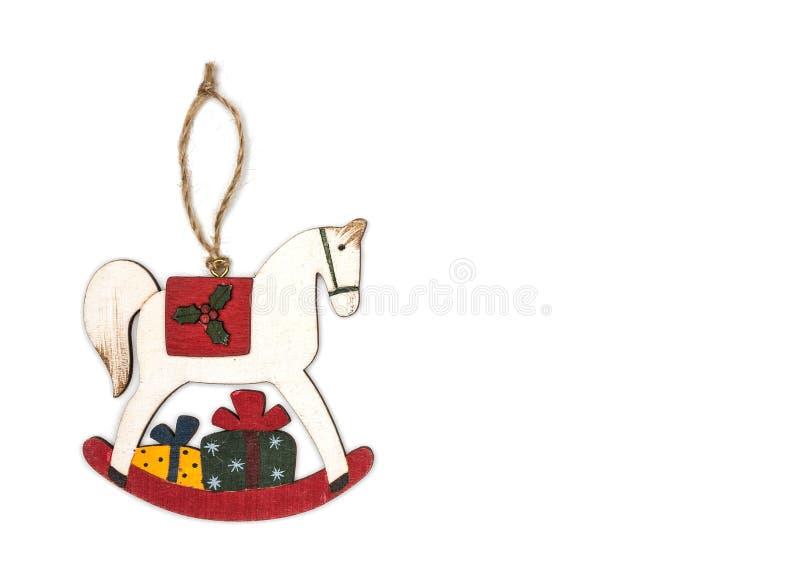 Toy rocking horse Christmas decoration. stock photos
