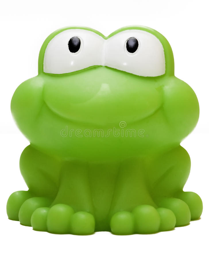 Toy rubber frog isolated on white background royalty free stock images