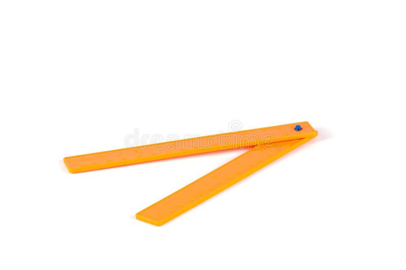 Toy ruler on a white background. Children toy tools stock photo