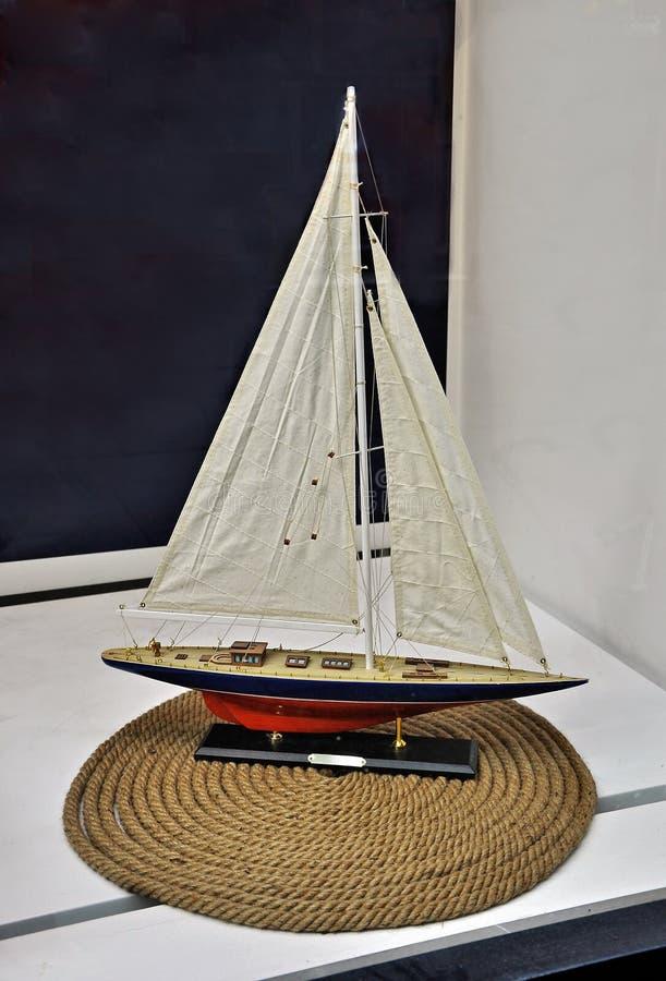 Toy sailing boat royalty free stock image