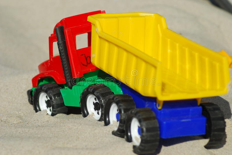 Toy sand truck stock photography