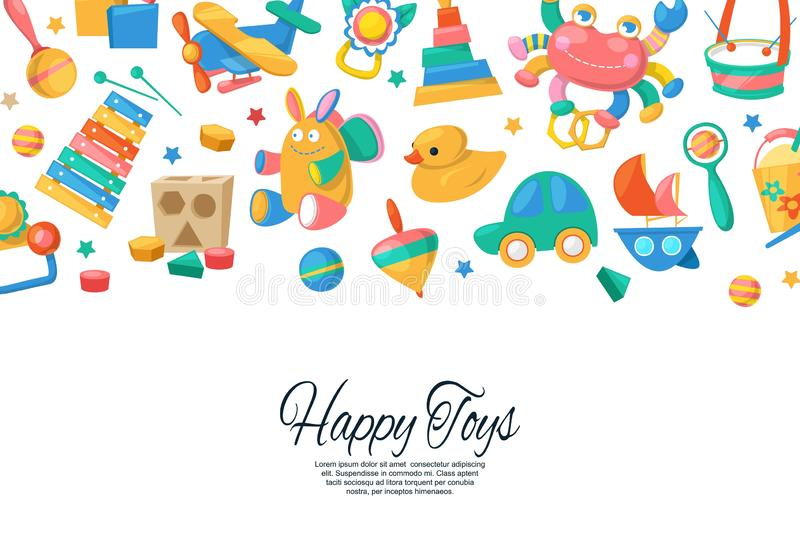 Toy set for babies banner, card vector illustration. Cute objects for small children to play with, wooden and plastic stock illustration