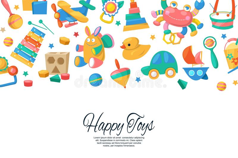 Toy set for babies banner, card vector illustration. Cute objects for small children to play with, wooden and plastic. Toys, animals such as duck, rabbit, fun royalty free illustration