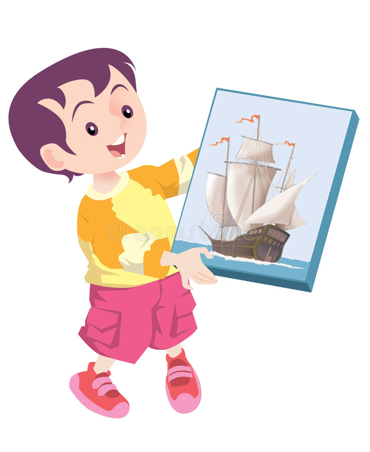 Toy Ship Present Stock Image