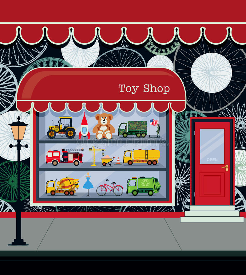 Toy Shop. Fronts along the city streets royalty free illustration