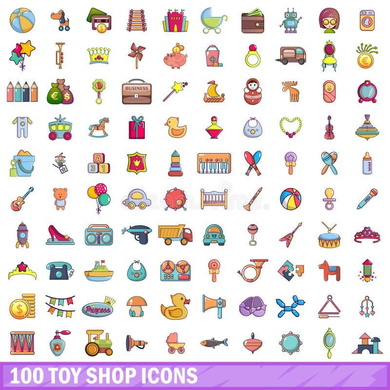 100 toy shop icons set, cartoon style. 100 toy shop icons set. Cartoon illustration of 100 toy shop vector icons on white background royalty free illustration