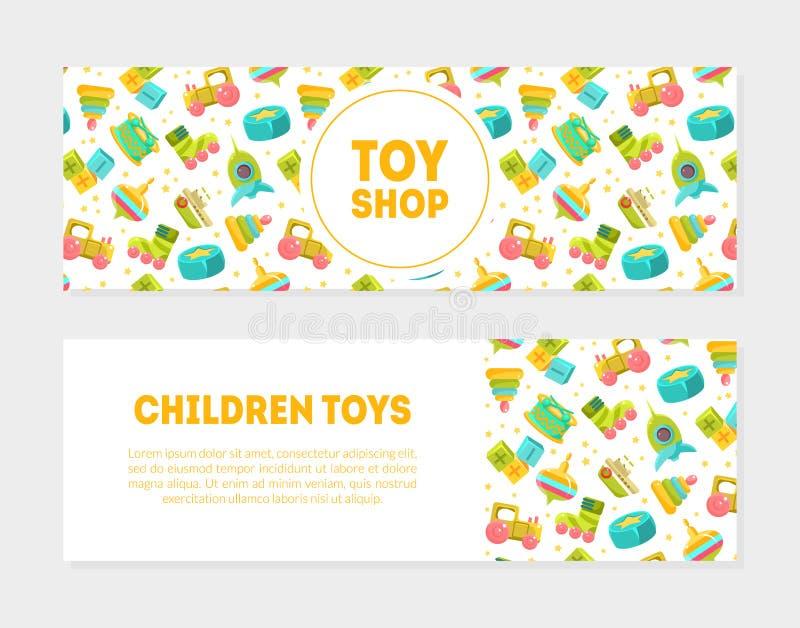Toy Shop, sistema horizontal de las banderas de los juguetes de los niños, los juguetes lindos del bebé modela y coloca para el t ilustración del vector