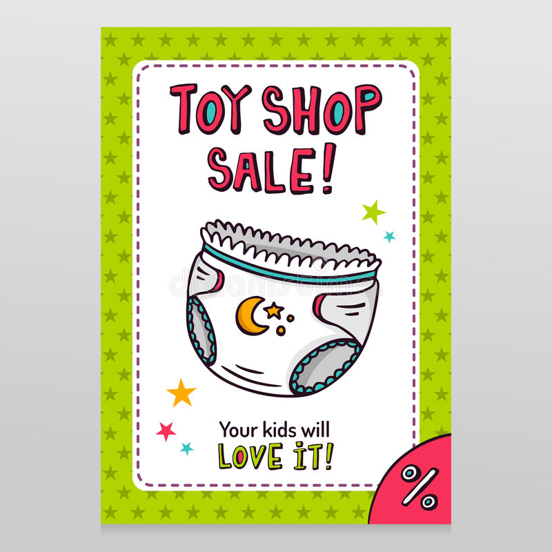 Toy shop vector sale flyer design with baby diaper vector illustration