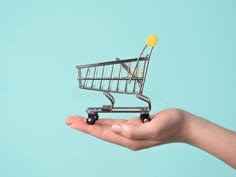 Toy shopping cart in female hand royalty free stock photo