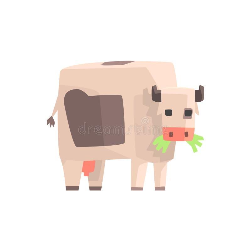 Toy Simple Geometric Farm Cow passant en revue avec la bouche pleine de l'herbe, illustration animale drôle de vecteur illustration libre de droits