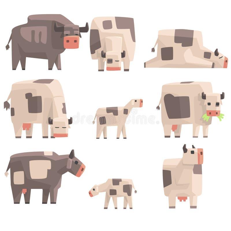 Toy Simple Geometric Farm Cows-Stellung und Legen, während Grasensatz lustige Tiere Illustrationen Vector vektor abbildung