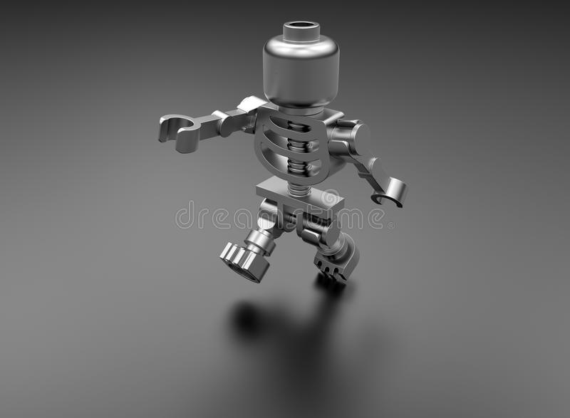 Toy skeleton. 3D rendered illustration of a toy skeleton. The object is on black background with shadows vector illustration
