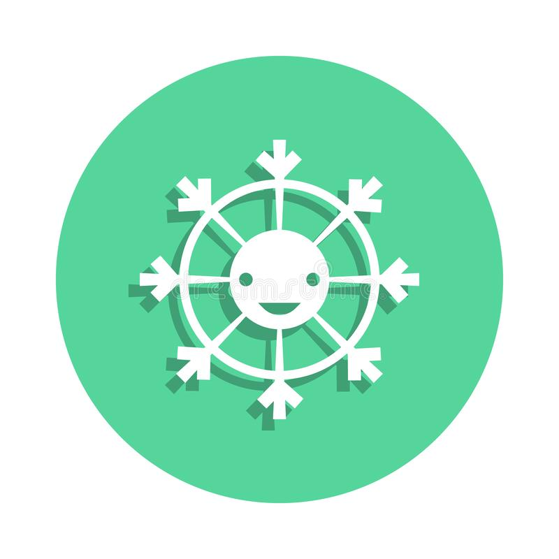Toy smiley icon in badge style. One of toys collection icon can be used for UI, UX. On white background stock illustration