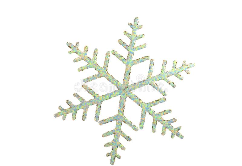 Toy snowflake - isolated on white 3d illustration. Toy snowflake - isolated on white 3d render stock illustration