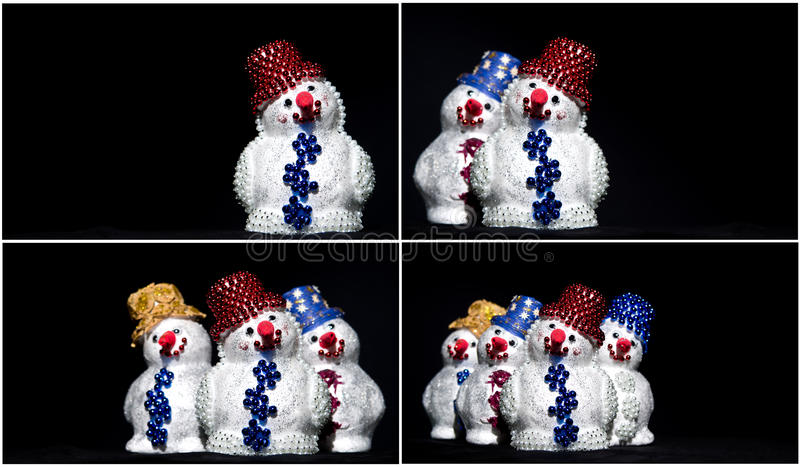 Download Toy snowman on black set stock photo. Image of isolated - 28083354