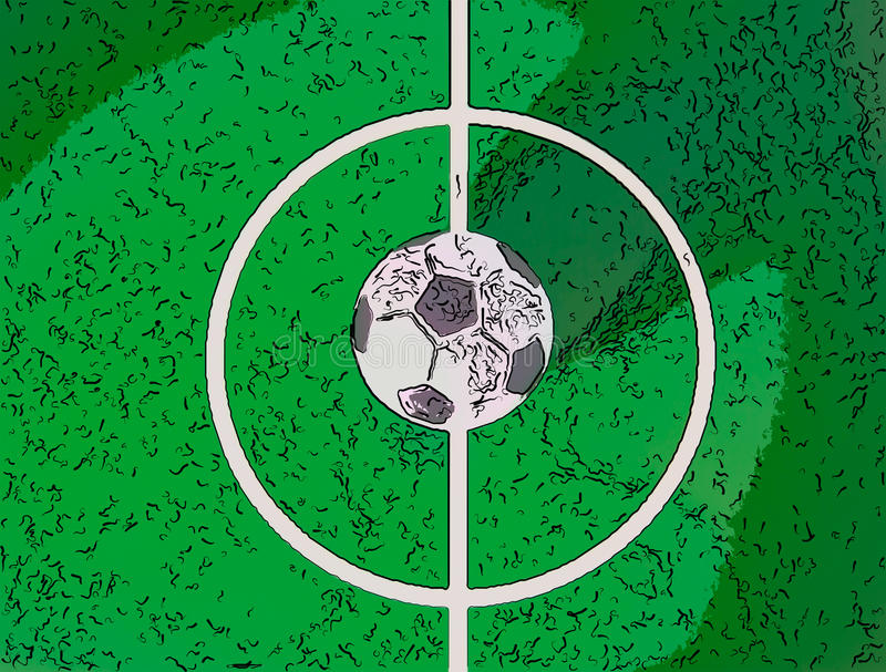 Toy soccerball in a midfield, in the center of the green field royalty free illustration