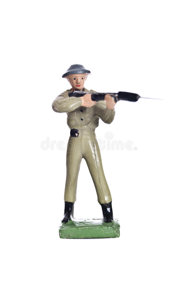 Toy Soldier. Isolated on white background stock photography