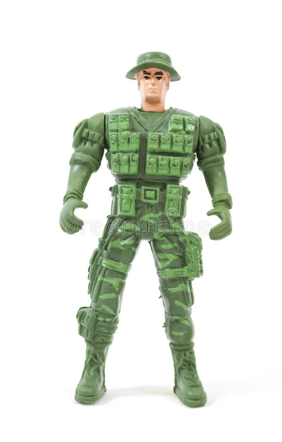 Toy soldier. Green toy soldier isolated white background royalty free stock photo