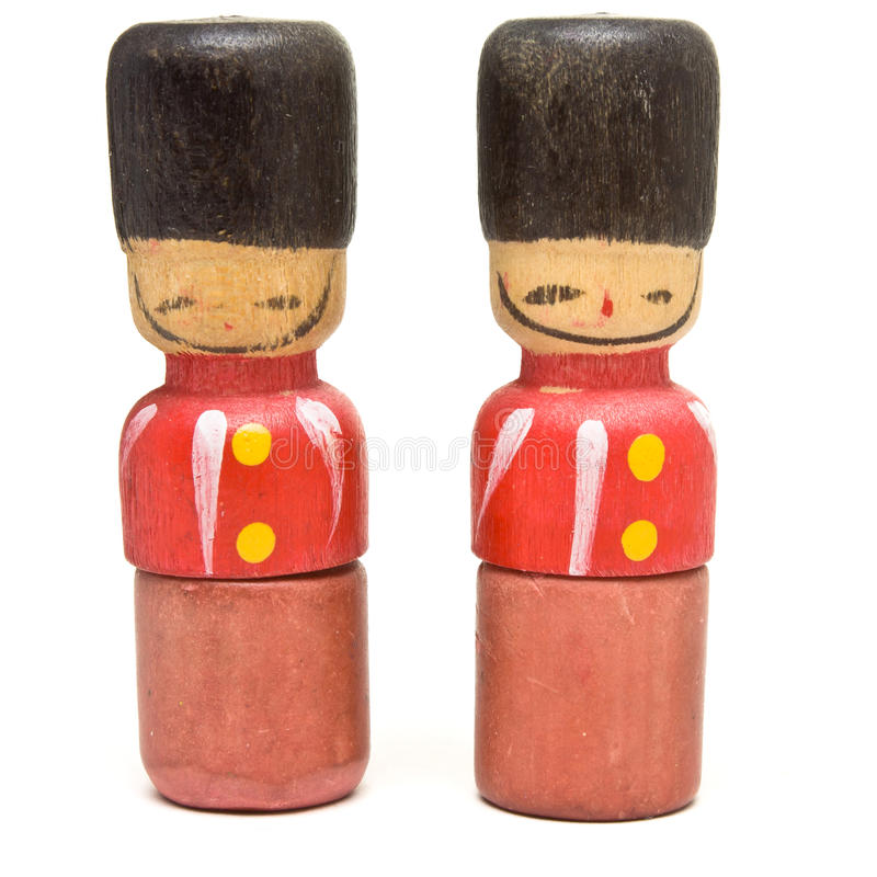 Toy Soldier. Vintage Novelty eraser / rubber in the guise of a wooden toy soldier royalty free stock photos