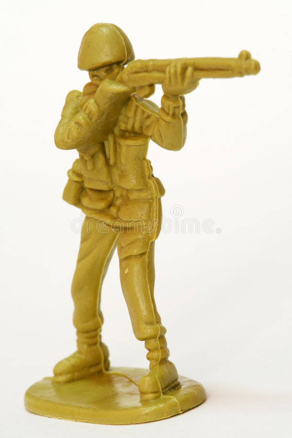 Toy Soldier. A firing toy soldier figure stock photography