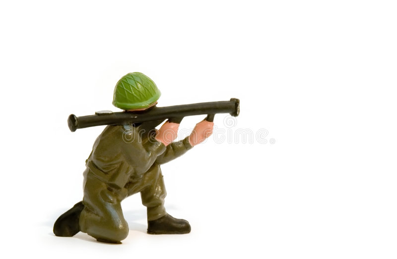 Toy soldier. With a rocket launcher stock images