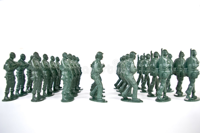 Toy soldier. On white background royalty free stock photography