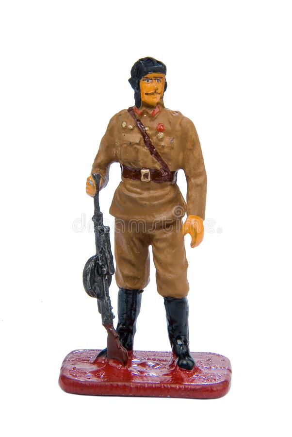 Toy Soldier. On a white isolated studio background stock photos