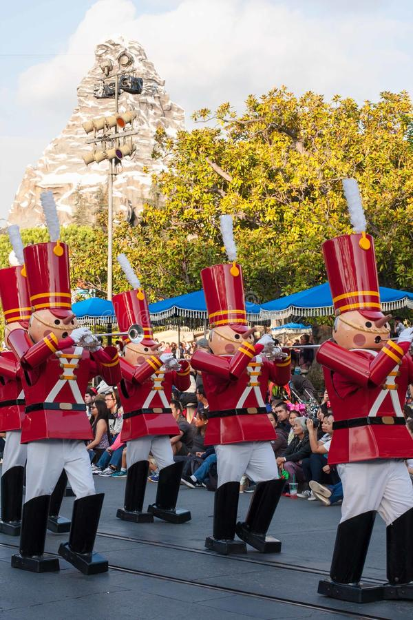Toy soldiers from Babes in Toyland at Disneyland Christmas Fantasy parade. Several Toy Soldiers from Babes in Toyland marching in A Christmas Fantasy Parade at stock image