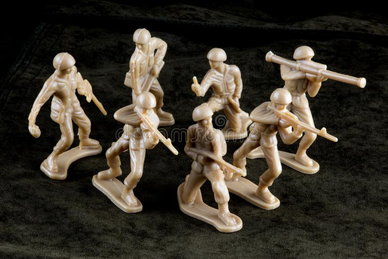 Toy Soldiers on a Toy Battle Field royalty free stock images