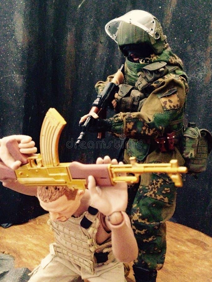 Toy Spetsnaz Fighting em Degestan imagens de stock