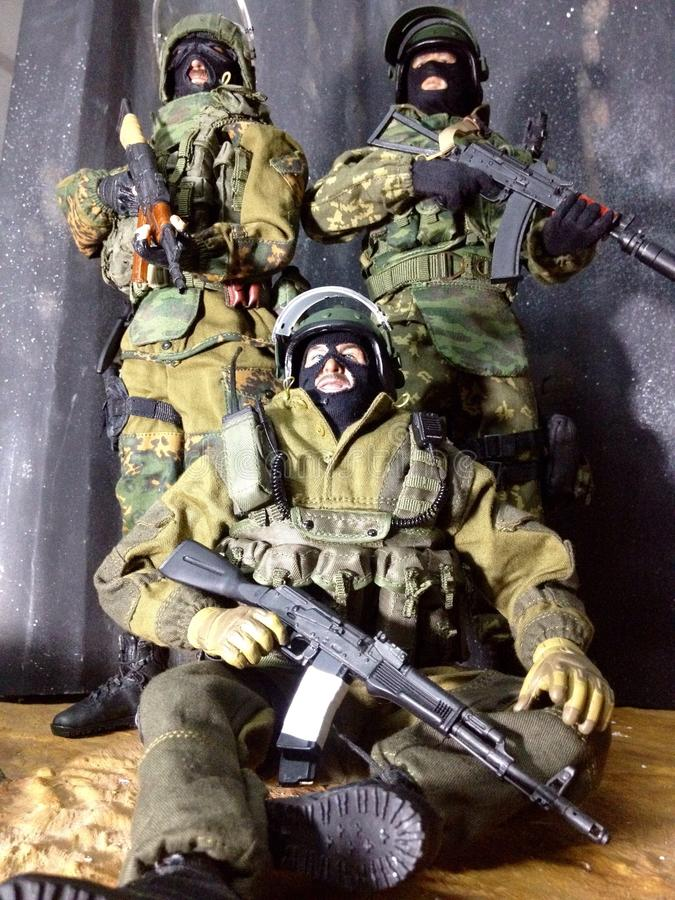 Toy Spetsnaz um seis missões do guerreiro em Daguestão imagens de stock