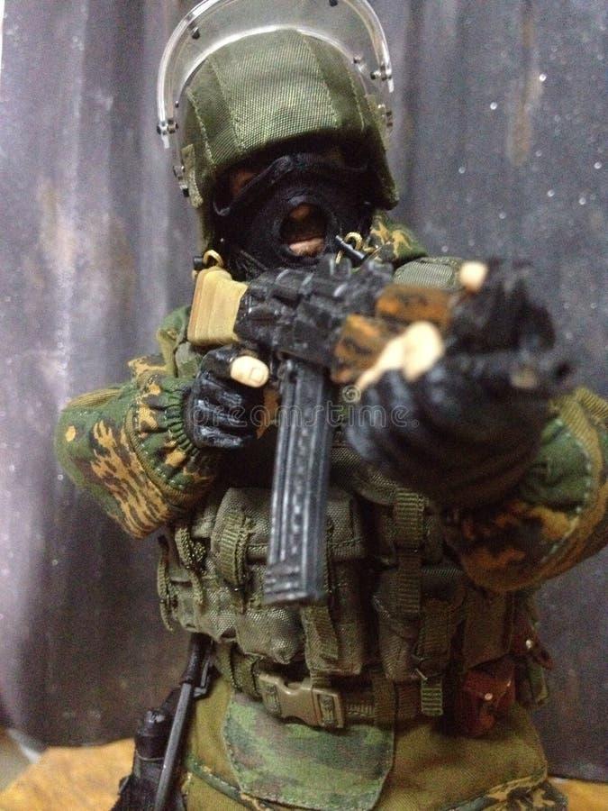 Toy Spetsnaz um seis missões dos guerreiros em Daguestão imagem de stock