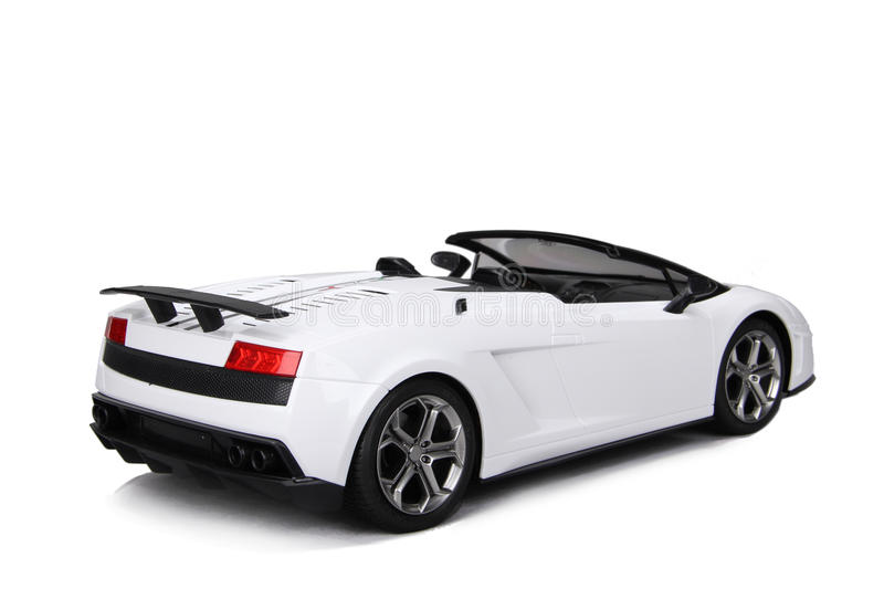 Toy sport car model. On a white background royalty free stock photo