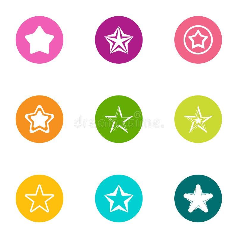 Toy star icons set, flat style. Toy star icons set. Flat set of 9 toy star vector icons for web isolated on white background royalty free illustration