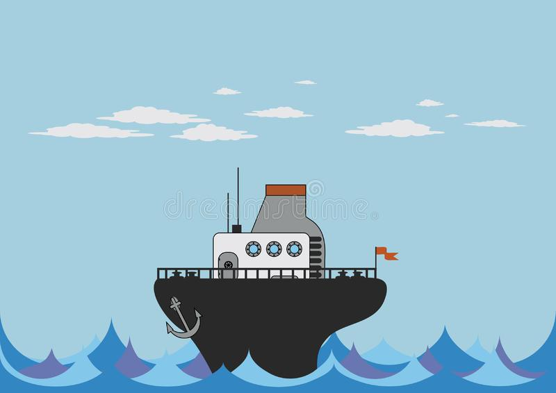 Download Toy steamer in the sea stock vector. Illustration of cloud - 6528871