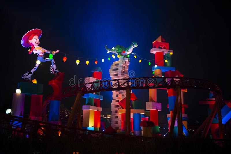 Toy Story Land Disney World, lopp, åtsmitande hund royaltyfria bilder